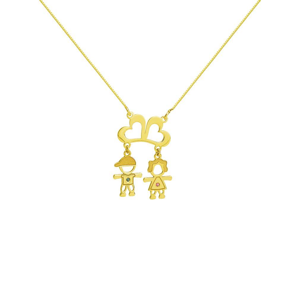 0e61eb11e5328 Gargantilha em Ouro 18k Corações com Menina e Menino ga03746 - joiasgold