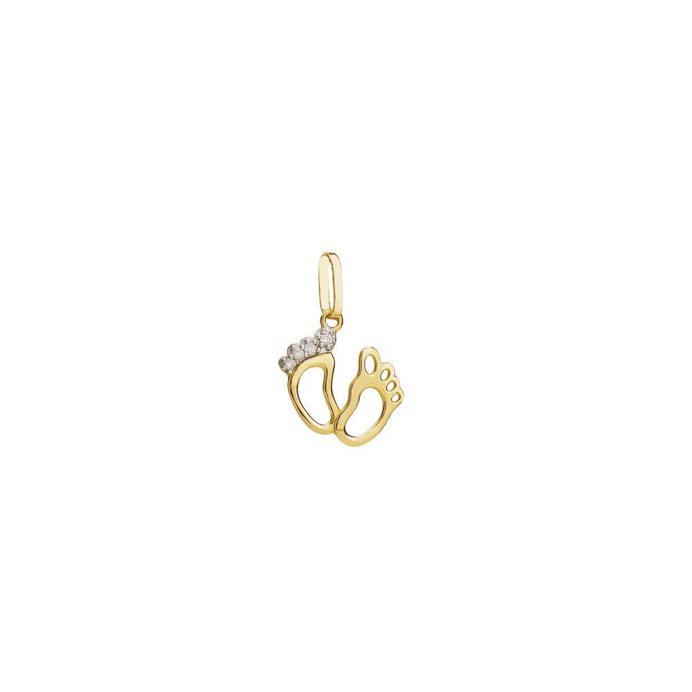 Pingente em Ouro 18k Pezinhos com Diamante pi19008 - joiasgold 8b492ee15f