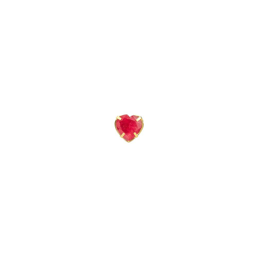 Pingente em Ouro 18k Coração Jade Vermelho pi19044 - joiasgold 56d29b3d92
