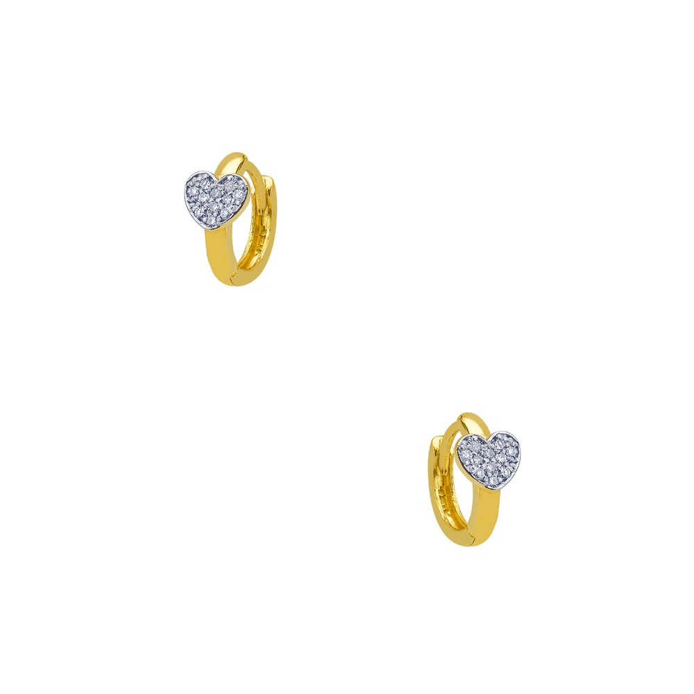 Brinco em Ouro 18k Argola Coração com Diamantes br22311 - joiasgold 737fbfa4b6