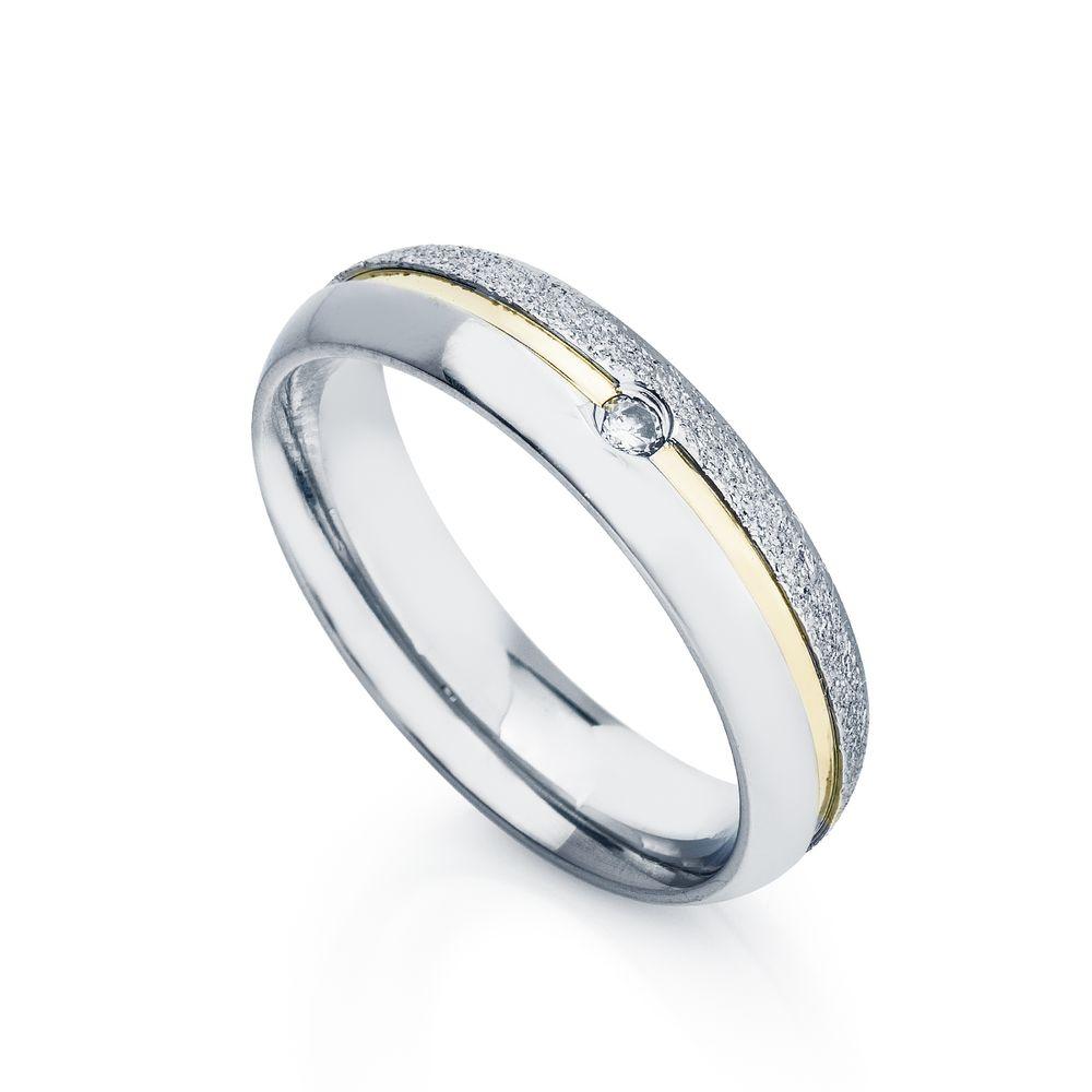 Aliança de Aço e Ouro cor Prata Abaulada com Zircônia Feminina ... 48b9ac54e2