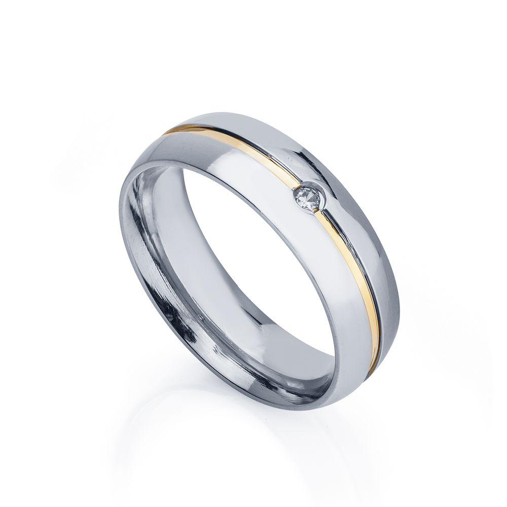 f61a0861dd298 Aliança de Aço e Ouro cor Prata Abaulada Feminina alf189-1 - joiasgold