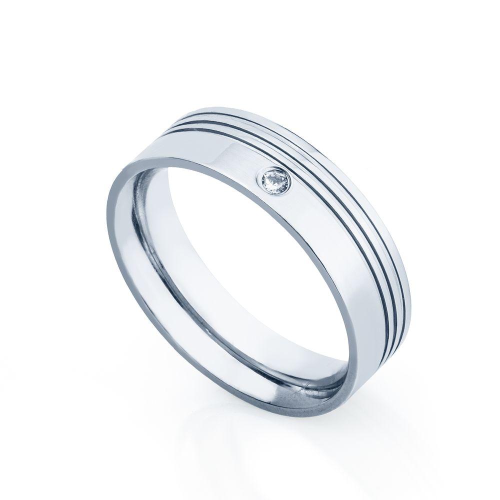 8237aace5c6 Aliança de Aço cor Prata Frisos Feminina alf330-1 - joiasgold