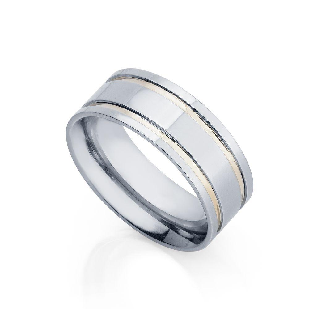 6ca4c03e5ef Aliança de Aço e Ouro cor Prata Abaulada Feminina alf406 - joiasgold