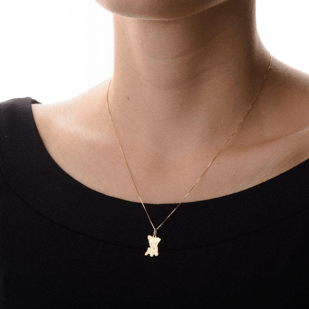 Pingente em Ouro 18k Cachorro com Diamante pi18962 - joiasgold ef450bc377