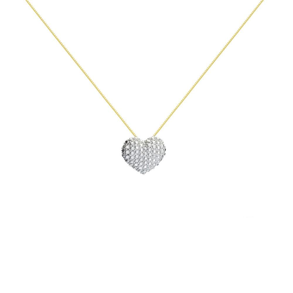 af59b6bfa3b95 Gargantilha em Ouro 18k Coração Diamantado com 45cm ga03811 - joiasgold