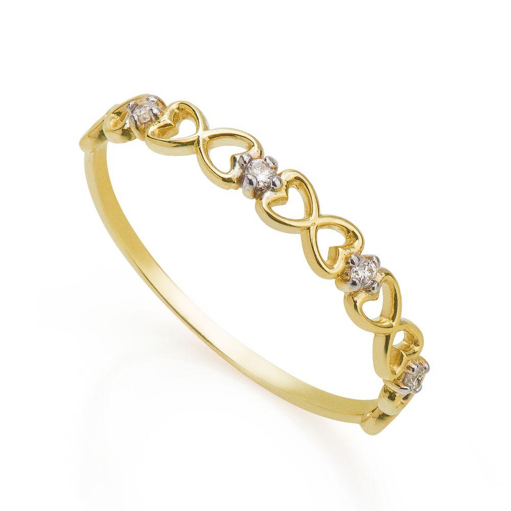 b32267e744e99 Anel em Ouro 18k Infinito Formato Coração com Diamantes an34388 ...