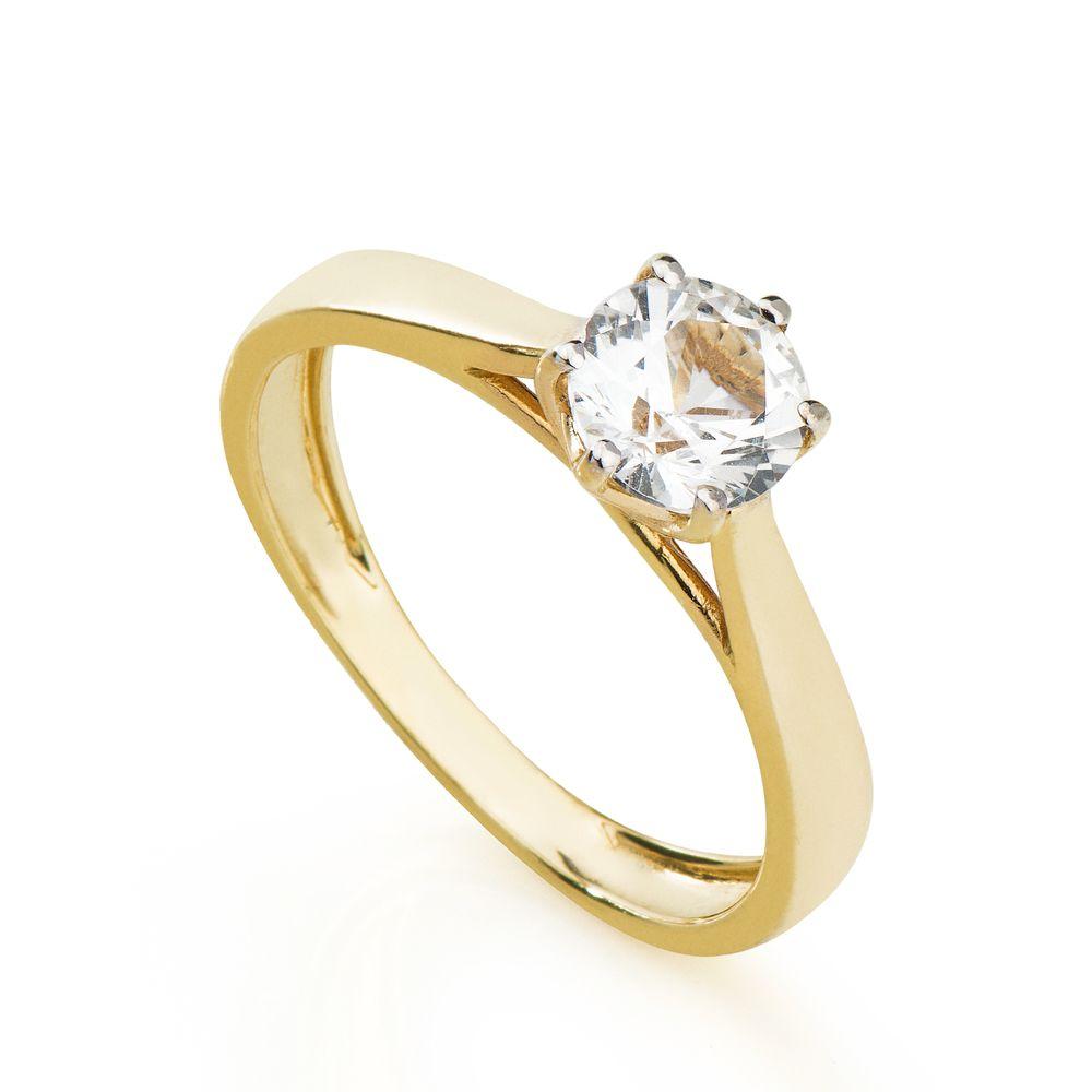 Anel em Ouro 18k Solitário Safira Branca 6,0mm an34402 - joiasgold 334e0529f9