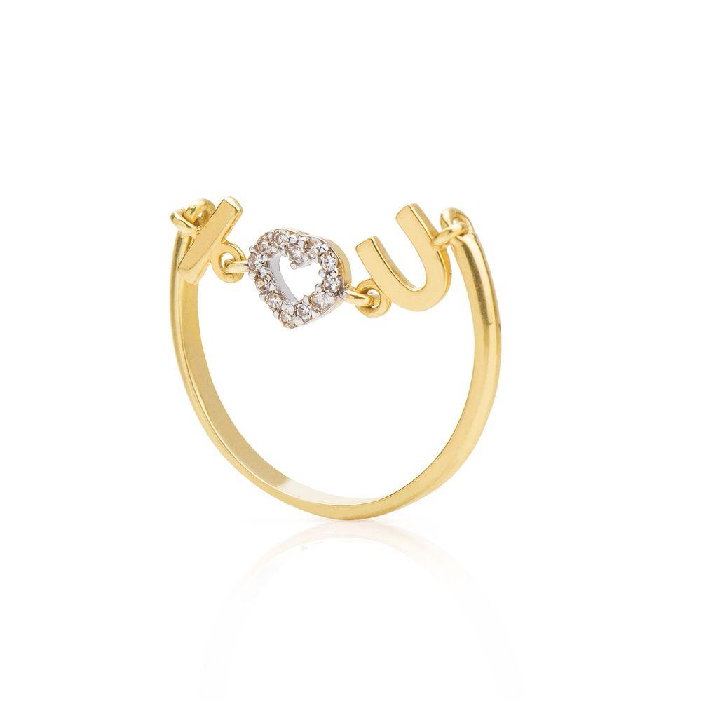 951575c7343 Anel em Ouro 18k I Love U com Coração Diamantes an34328 - joiasgold