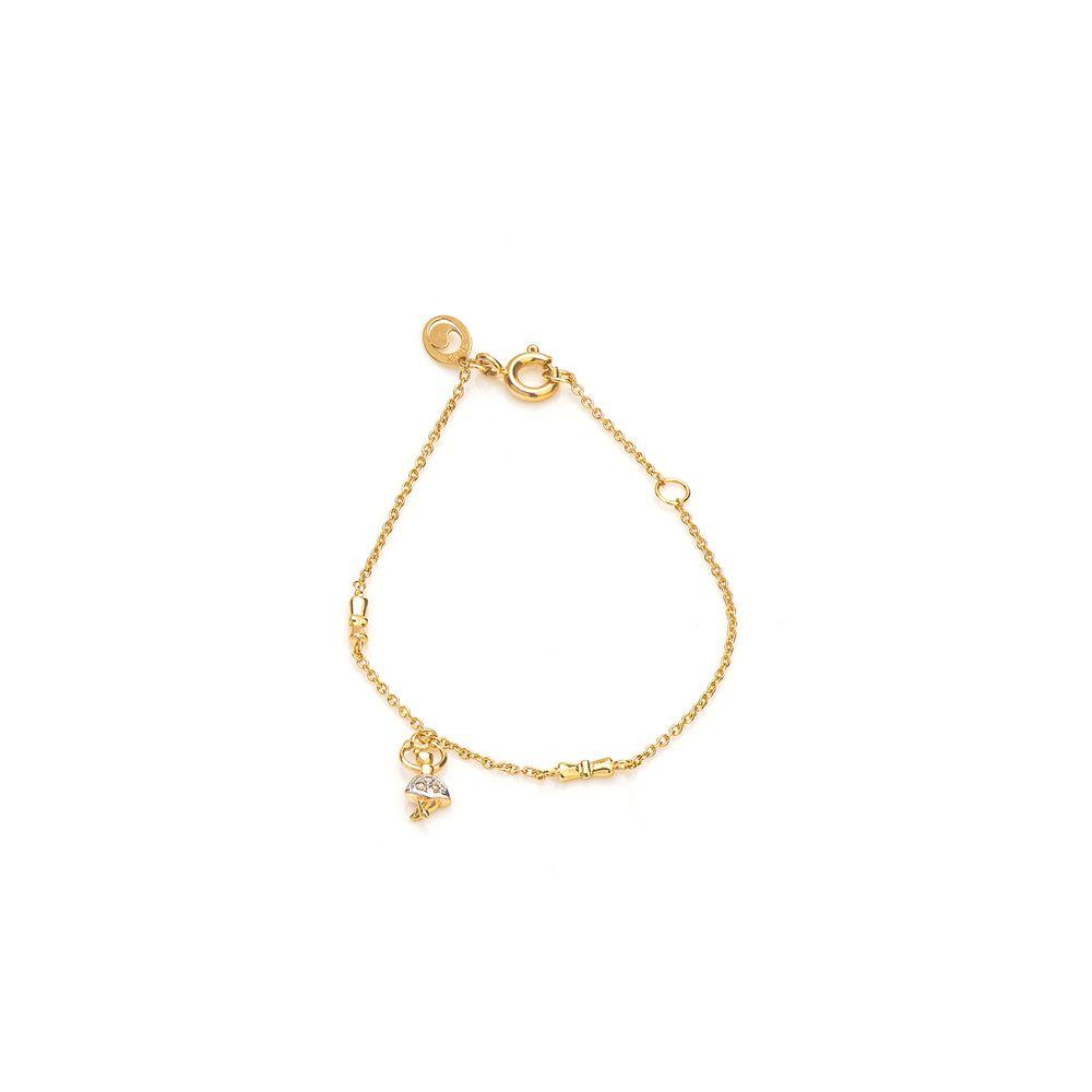 c03cec2e92bae Pulseira em Ouro 18k Infantil Bailarina Diamantes com 14cm pu04382 ...