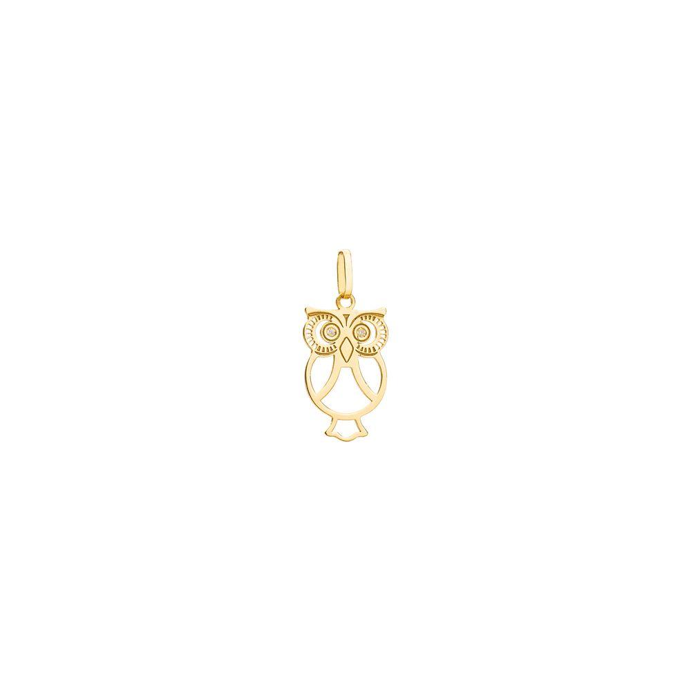 Pingente em Ouro 18k Coruja com Diamantes pi19012 - joiasgold ff2895e188