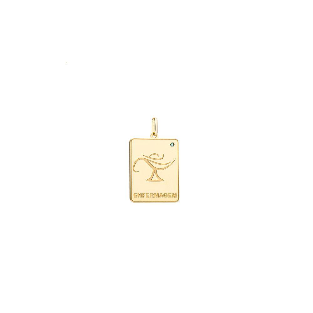 Pingente em Ouro 18k Formatura Placa Enfermagem com Esmeralda ... d91e6a8fc9