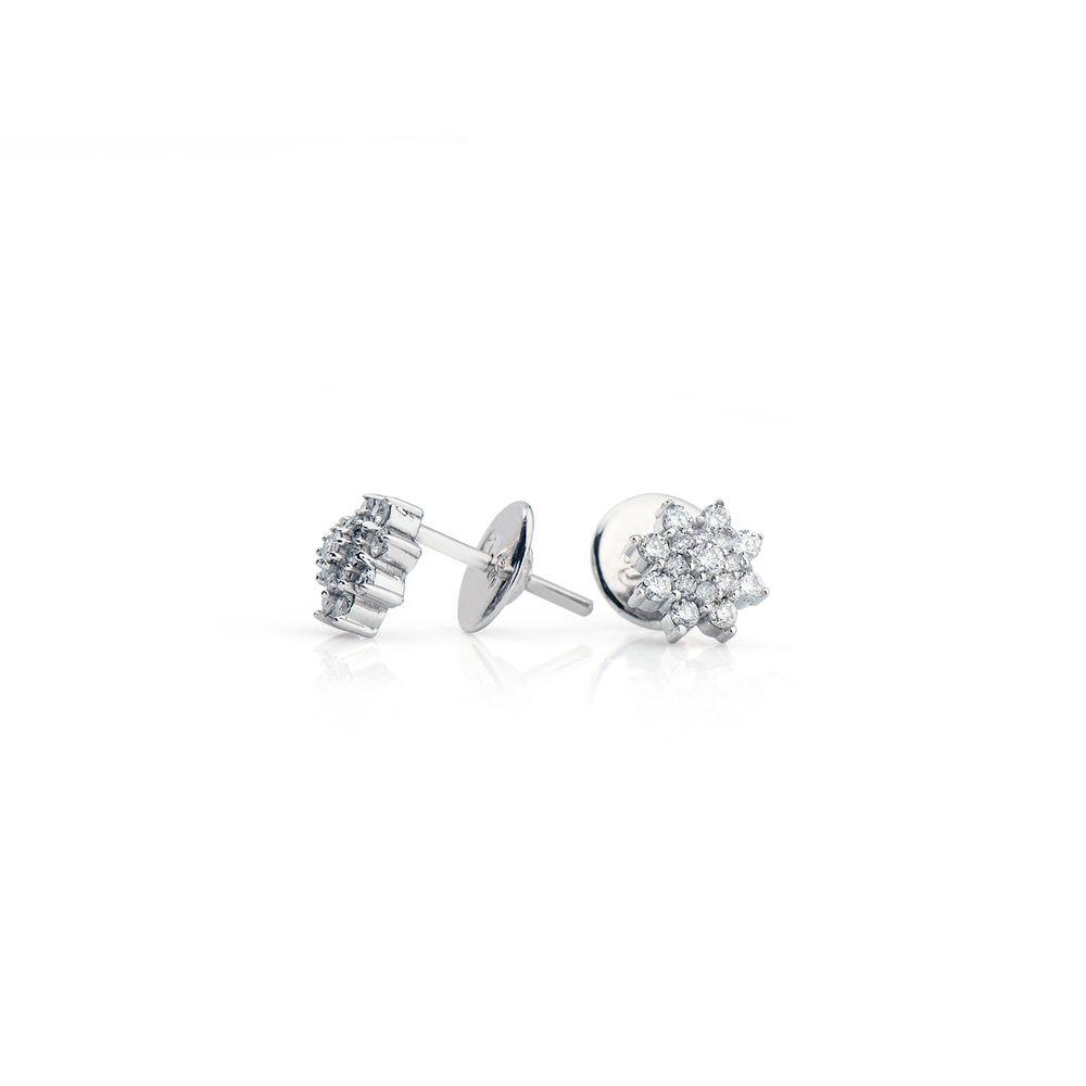 a8427b09f71cd Brinco em Ouro Branco 18k Chuveiro Flor com Diamantes br22304 ...
