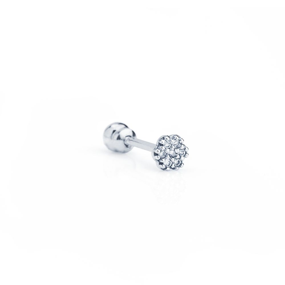 7037a7f8d66c Piercing Orelha em Ouro Branco 18k Chuveiro Flor Diamantes ac07050 ...