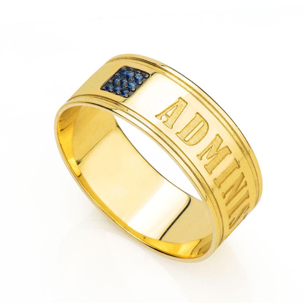 Anel de Formatura em Ouro 18K Administração com Safira an34070 ... 9672dc2bde