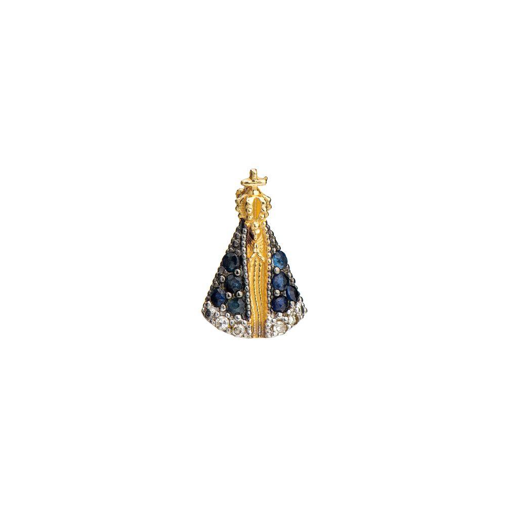 3336fb0cffc24 Pingente em Ouro 18k N. Sra Aparecida com Safira e Diamante pi19117 ...