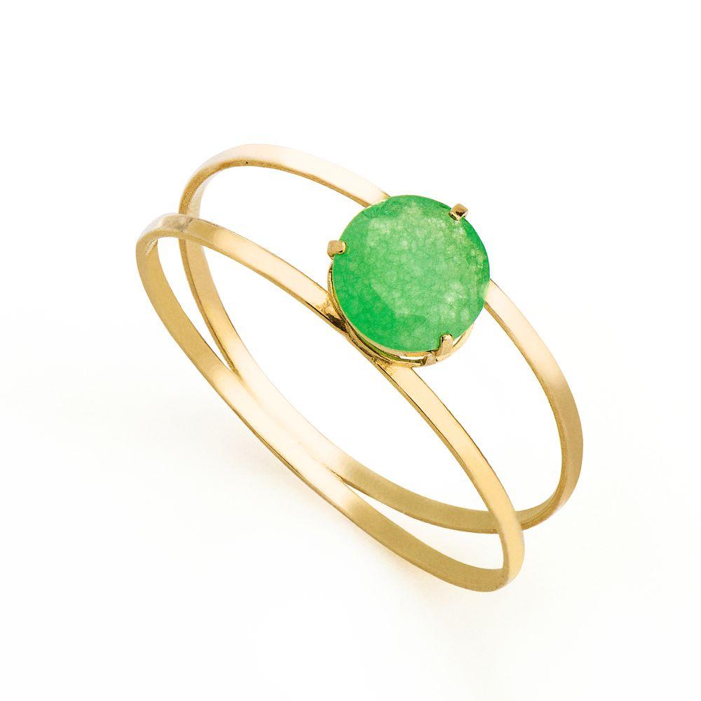 dc9ce383866bb Anel em Ouro 18k Solitário Jade Verde com 6