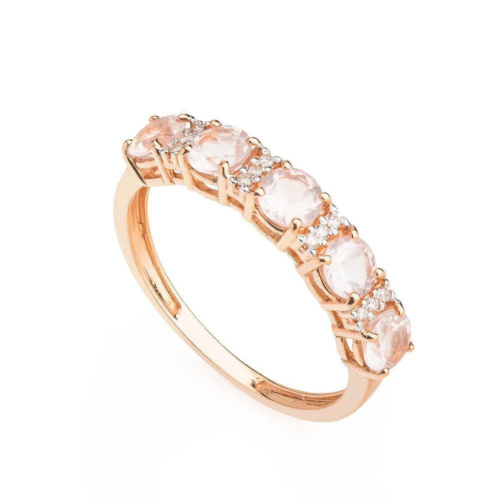 2695b17d57096 Anel em Ouro Rosê 18k Meia Aliança Quartzo Rosa com Diamantes ...