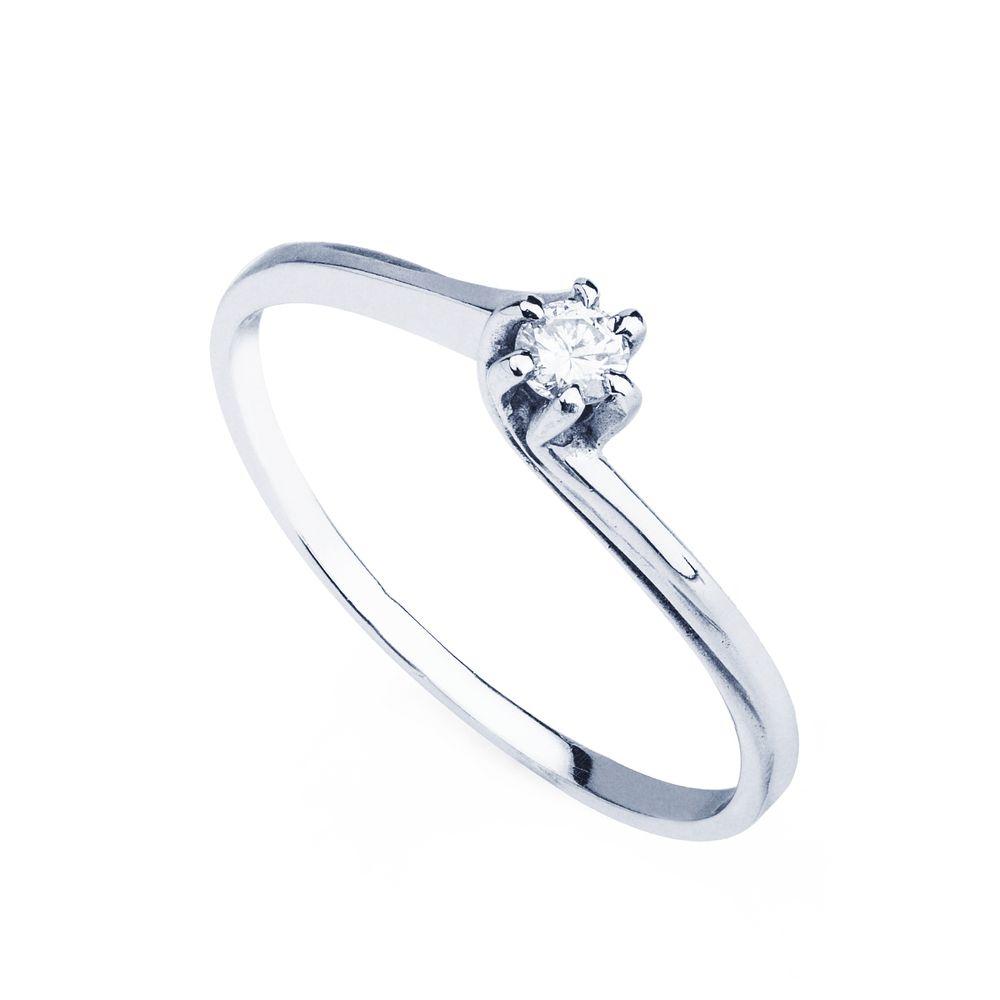 Anel em Ouro Branco 18k Solitário Torcido Diamante de 8 Pontos ... 39d995f187