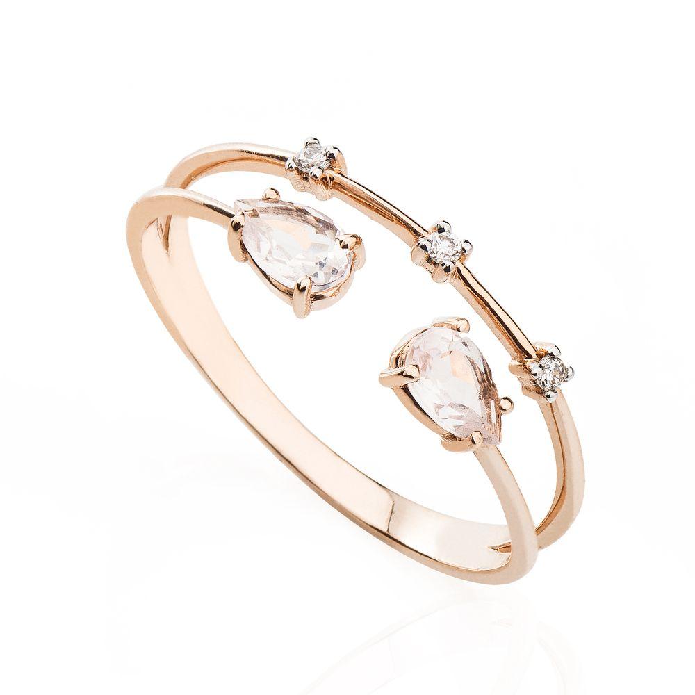 0e7df49e479e0 Anel em Ouro Rosê 18k Aro Duplo Quartzo Rosa e Diamantes an34609 ...