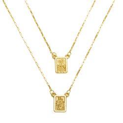 4bf325f447 Escapulário em Ouro 18k N. Sra do Carmo e Sagrado Coração ga03898