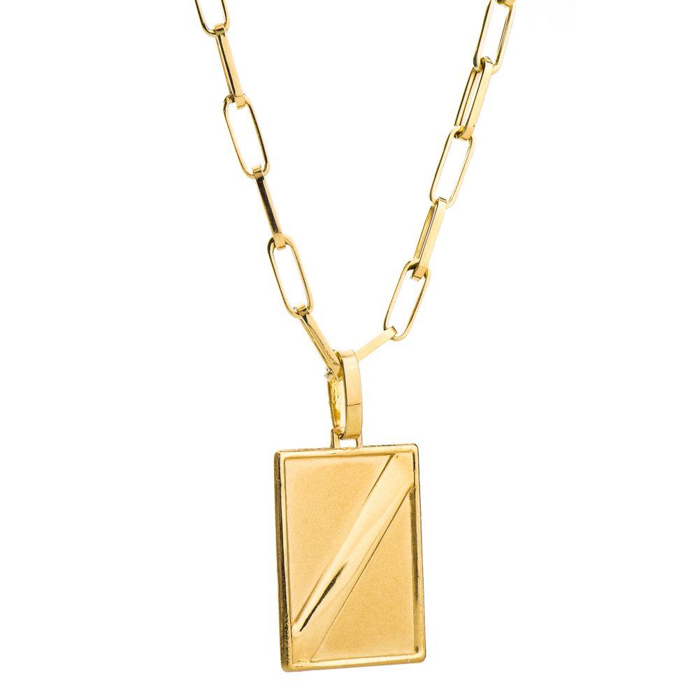 Corrente com Pingente Placa em Ouro 18k Masculina 60cm ga04026 ... a0656d67bc