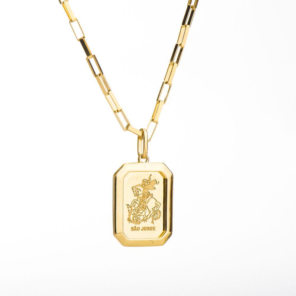 7d6a39d83cf82 Corrente com Pingente Placa em Ouro 18k Masculina 60cm ga04039 ...