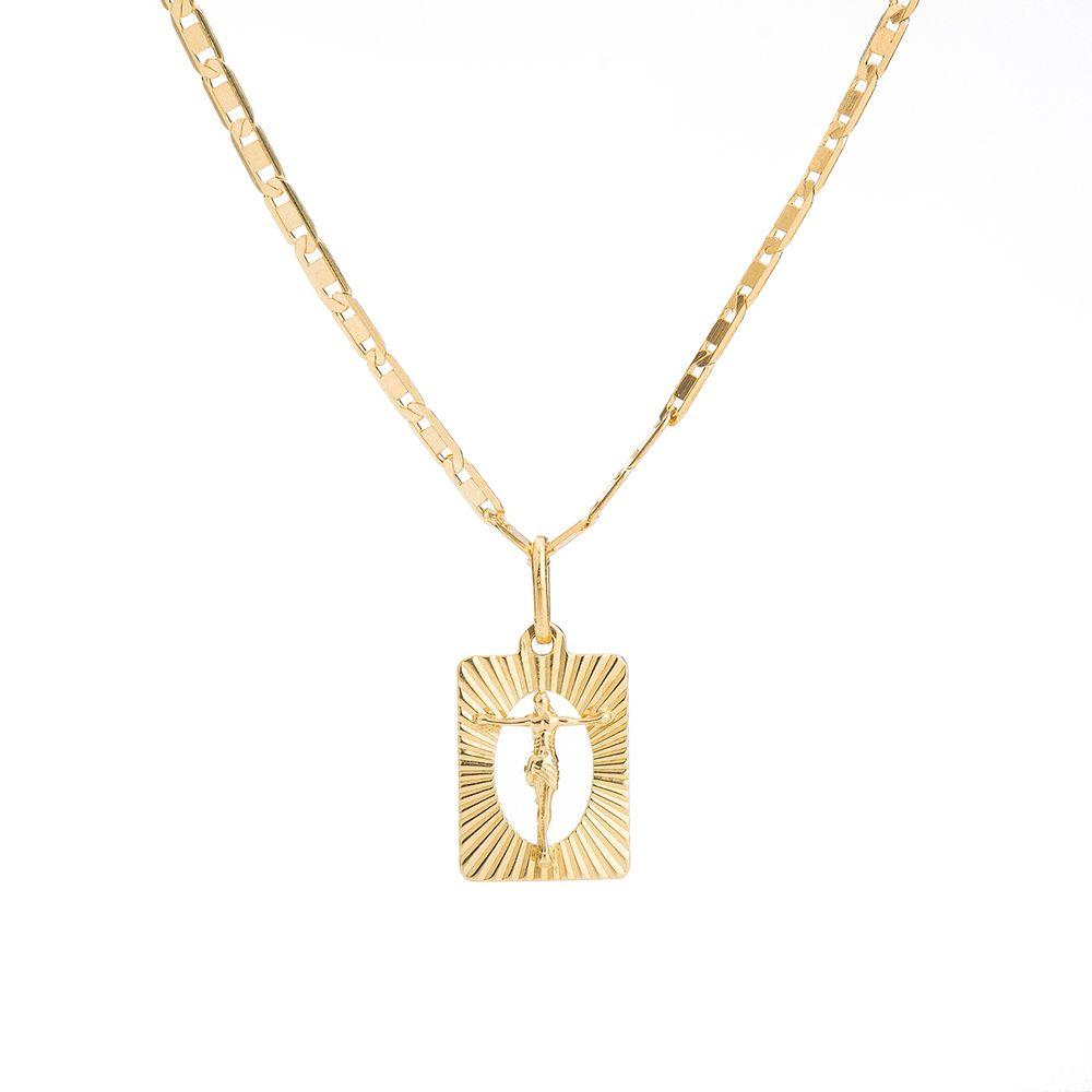 Corrente com Pingente Cristo em Ouro 18k Masculina 60cm ga04040 ... 7d72e226f1