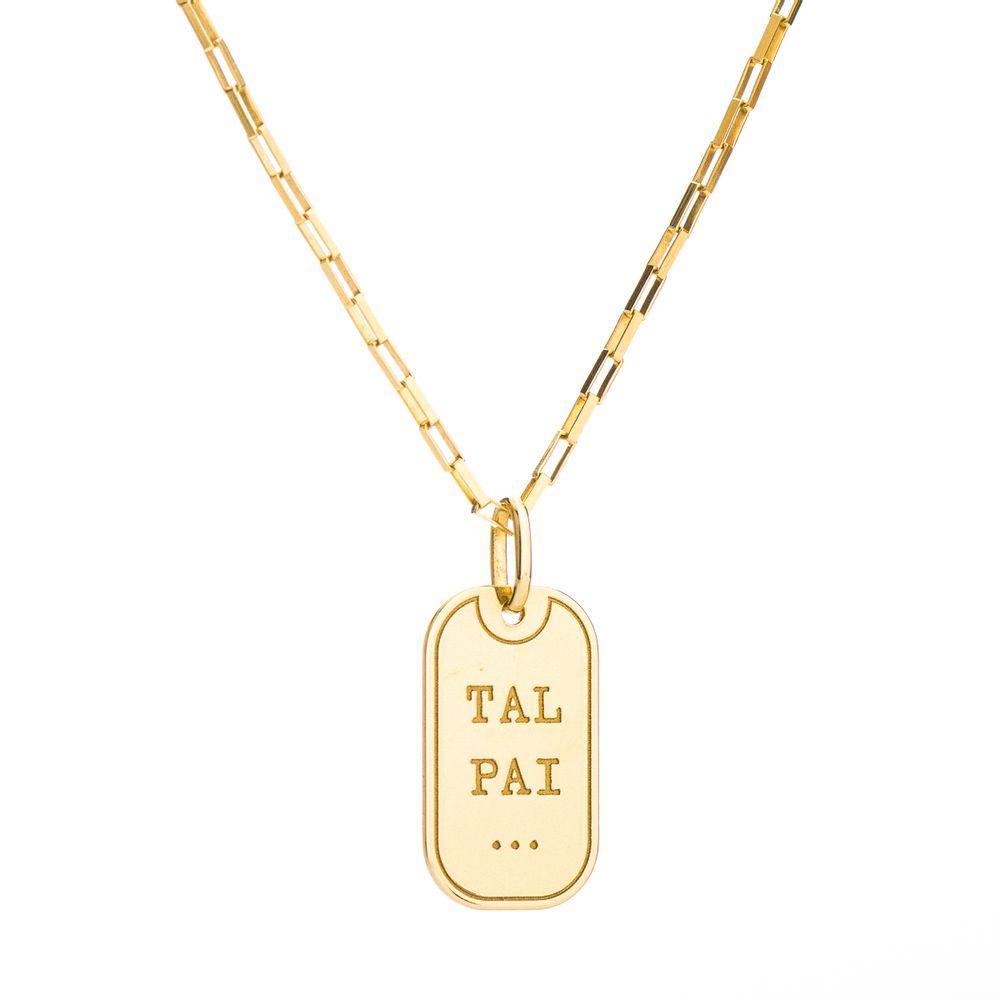 Corrente com Pingente Placa em Ouro 18k Tal Pai 60cm ga04043 - joiasgold 89d25c32f4
