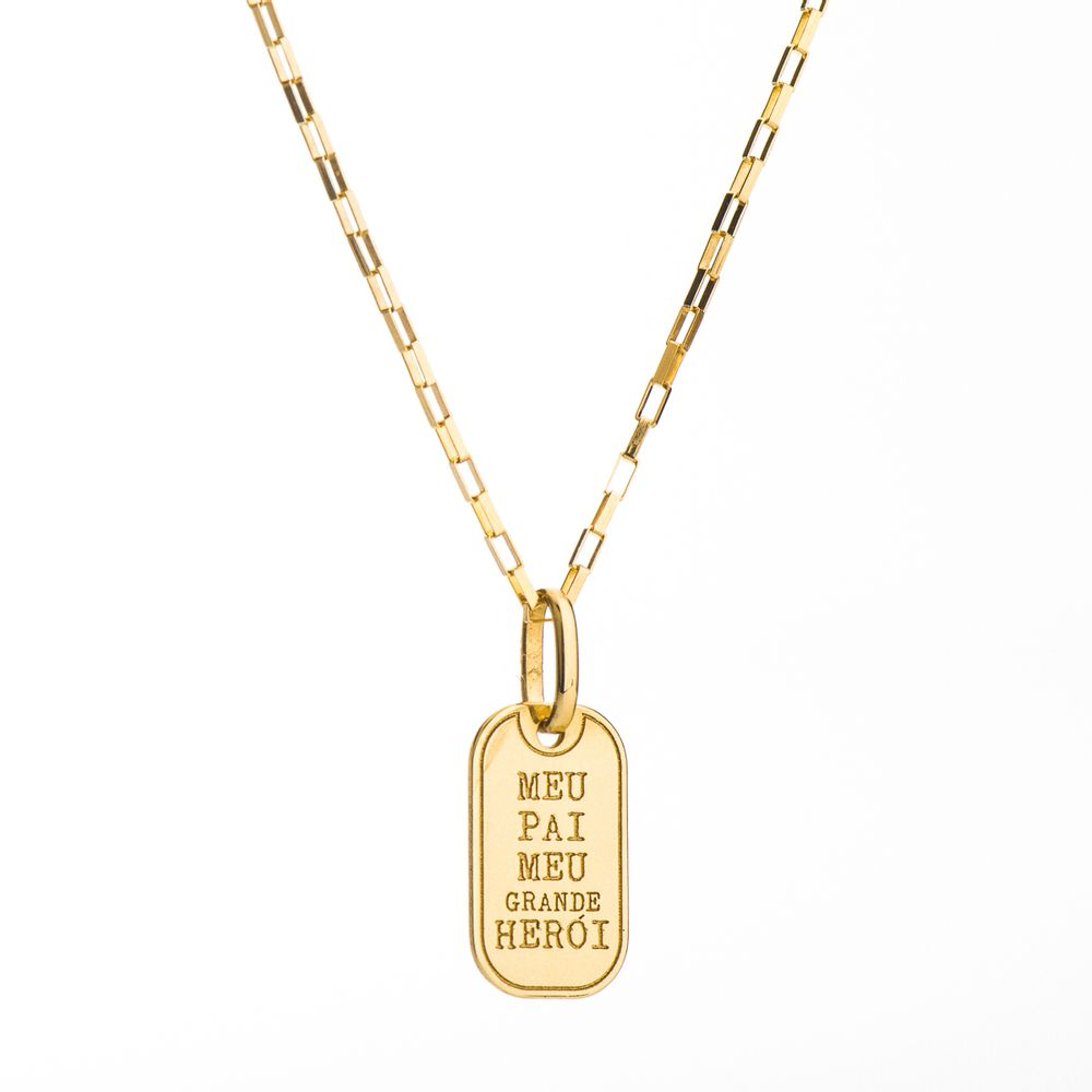 Corrente com Pingente Placa em Ouro 18k Meu Pai 60cm ga04048 - joiasgold fbb3acac29