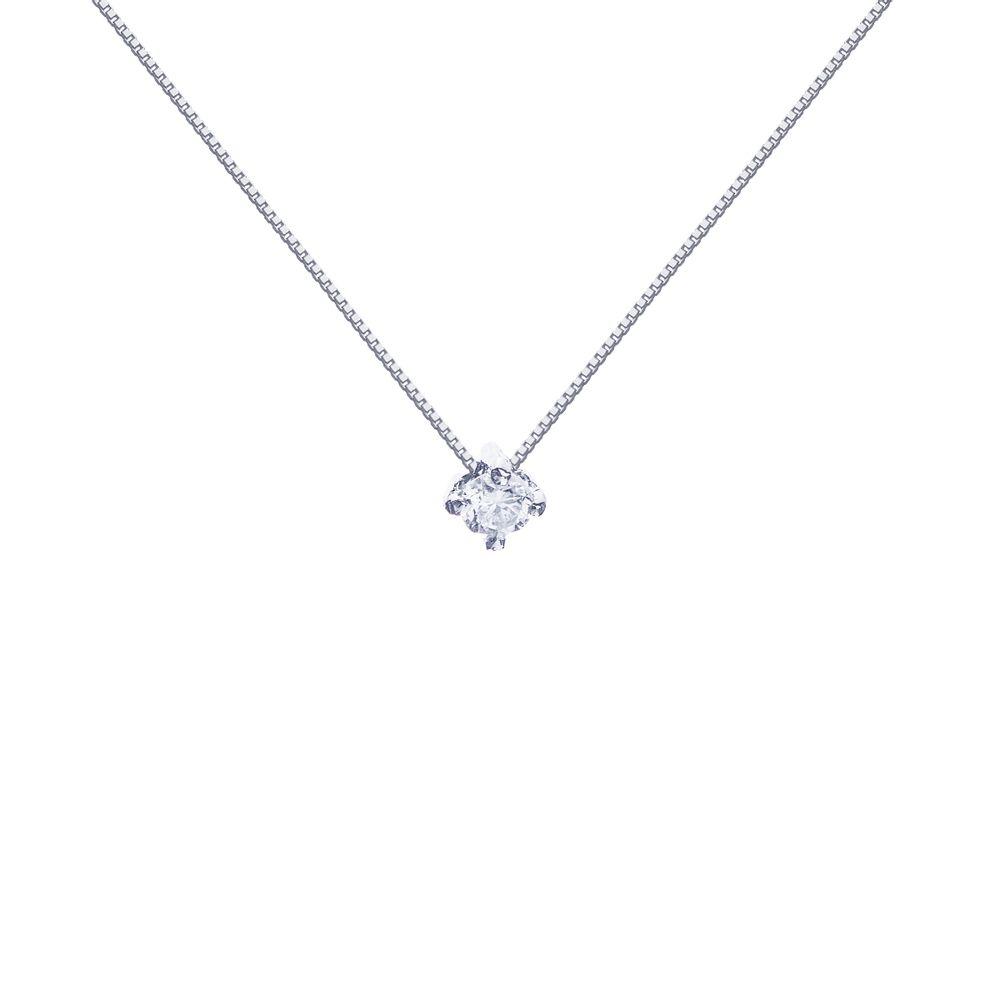 4438fead4feb4 Gargantilha em Ouro Branco 18k Ponto de Luz Diamante de 5 Pontos ...