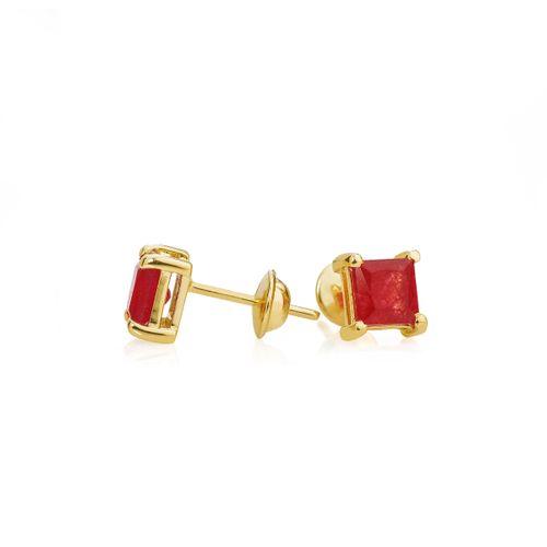 Brinco em Ouro 18k Jade Vermelha br22606 - Joiasgold