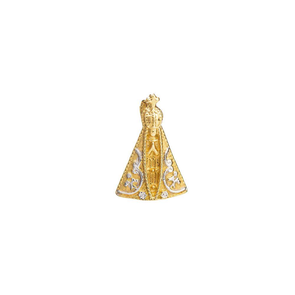 f6c086659d238 Pingente em Ouro 18k Nossa Senhora Aparecida Rodinada pi18203 ...