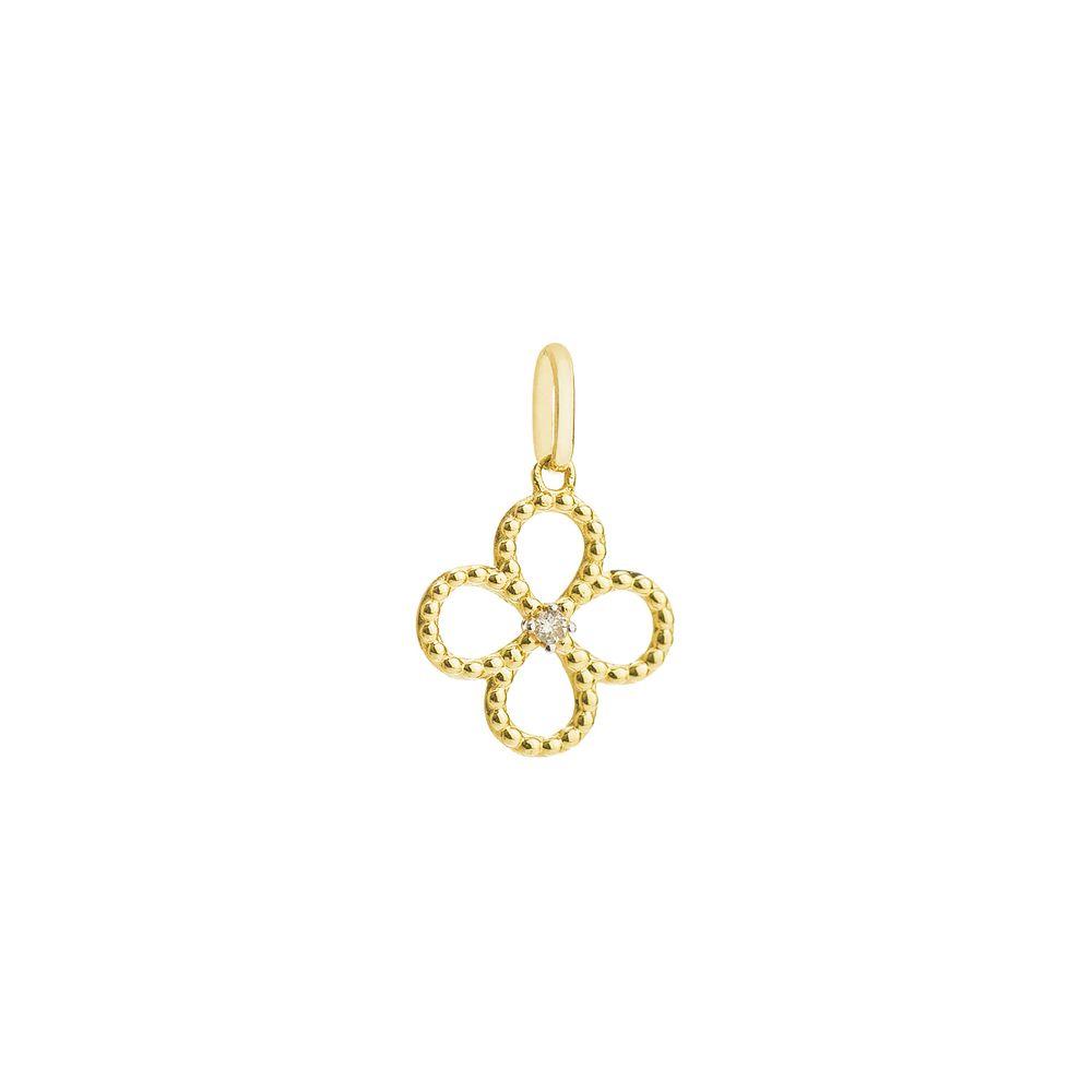 Pingente em Ouro 18k Flor Vazada Bolinha com Diamante pi19225 ... 21983ad2ac