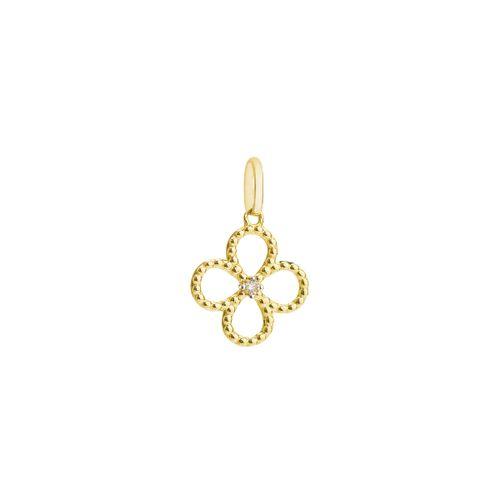 Pingente de Ouro 18k Flor Vazada Bolinha com Diamante pi19225 42d8b8c4a58c7