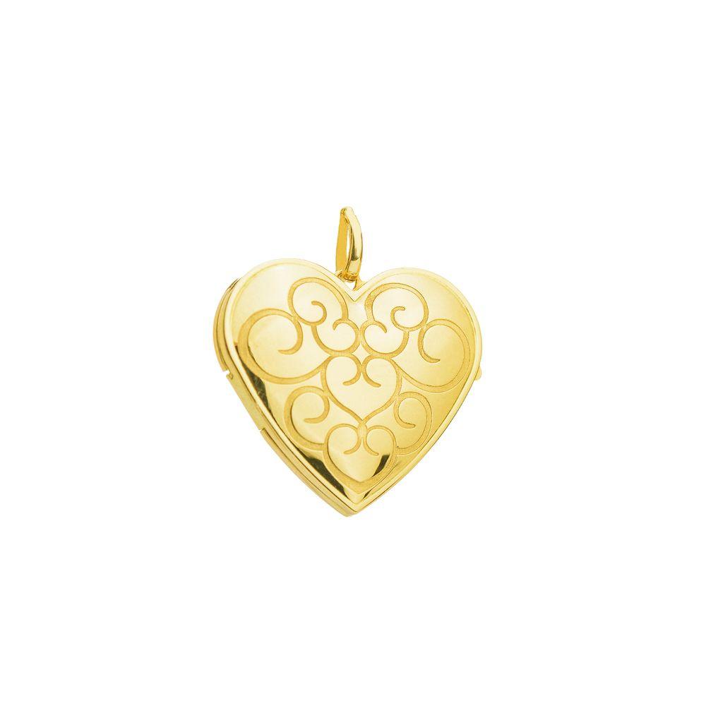 Pingente em Ouro 18k Relicário Coração Trabalhado pi18854 - joiasgold 628883f554