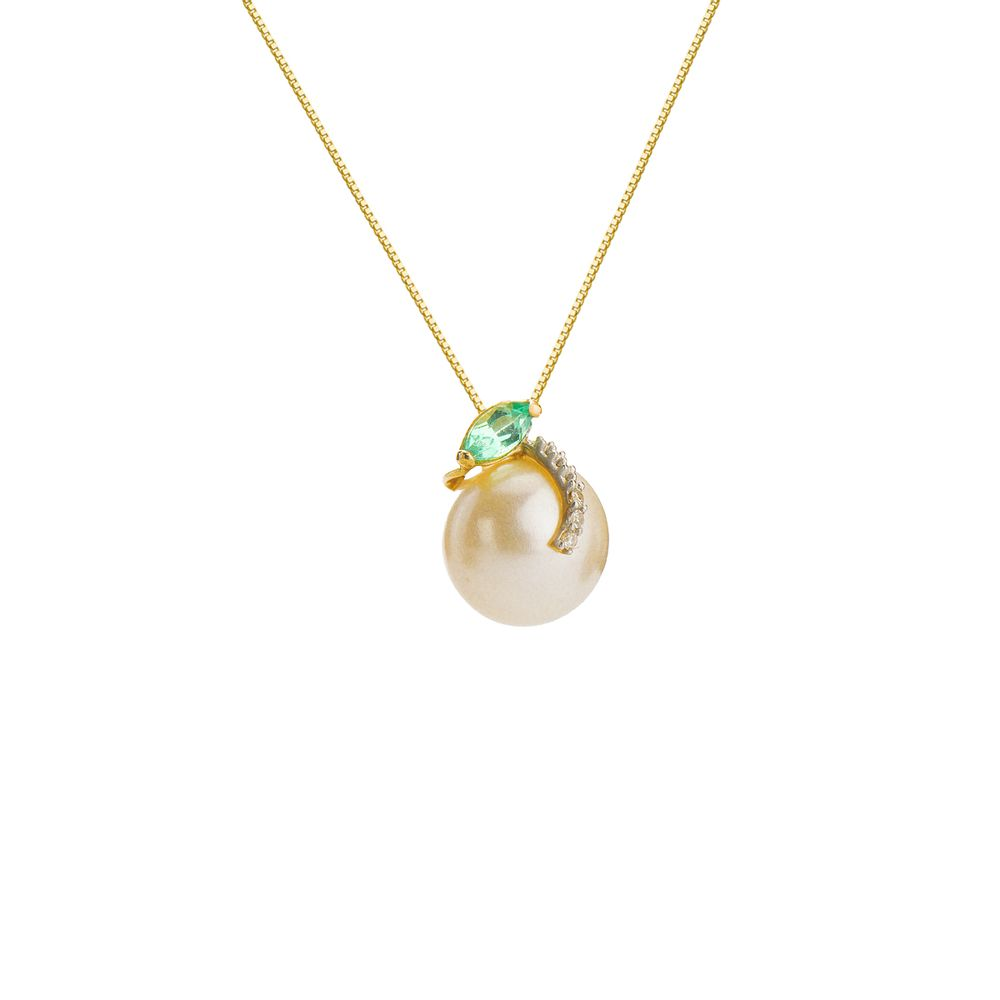 cf4dd7bf27c4b Gargantilha em Ouro 18k Pérola com Esmeralda e Diamante 46cm ga03834 ...