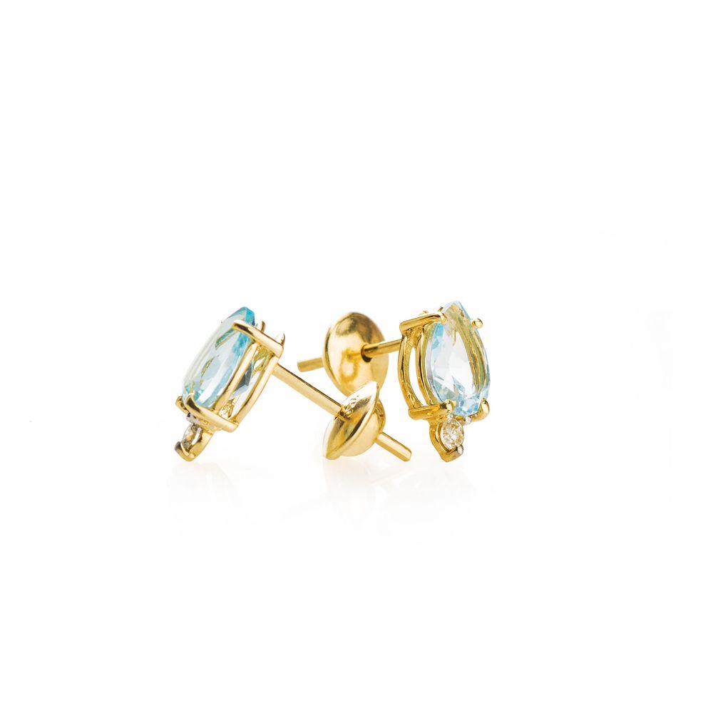 Brinco em Ouro 18k Topázio Sky Gota com Diamante br22617 - Joiasgold