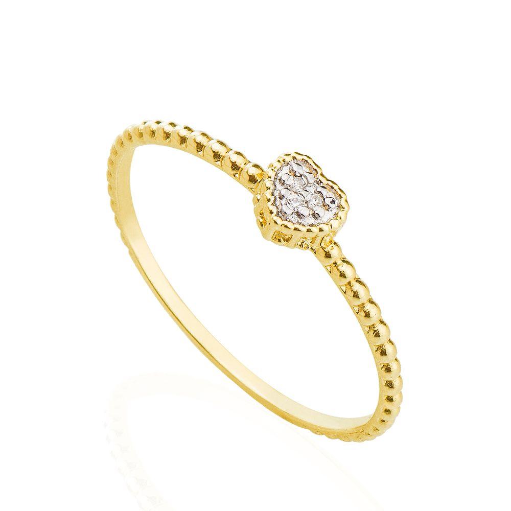 485fb664ce21d Anel em Ouro 18k Coração Aro Bolinha com Diamantes an34731 - joiasgold