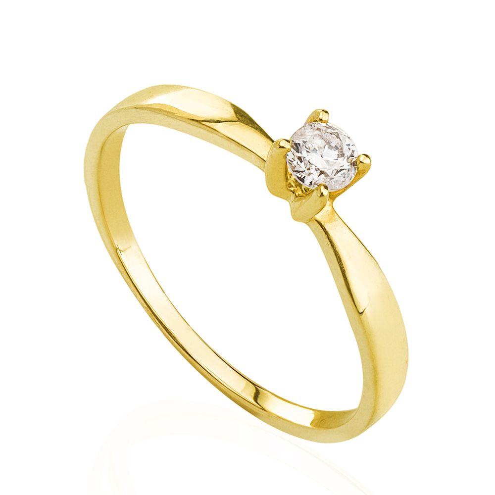 Anel em Ouro 18k Solitário com Diamante de 15 pontos an34015 - joiasgold 474710dea6