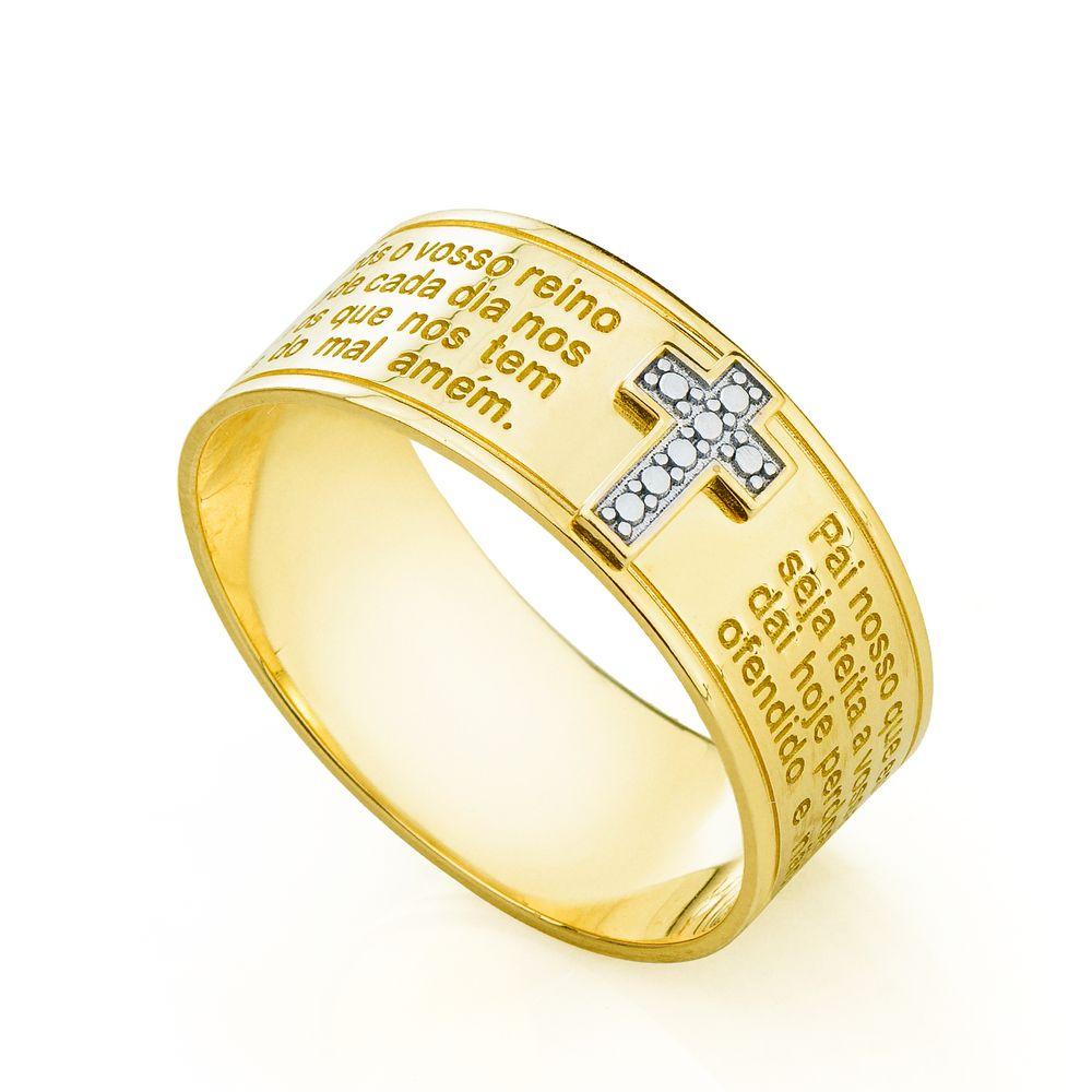 Anel em Ouro 18k Oração Pai Nosso com Cruz Rodinada an34709 - joiasgold 1338bcd23f
