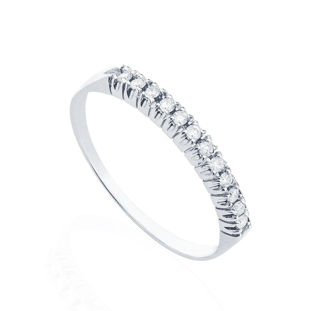 38edd47830fda Anel em Ouro Branco 18k Meia Aliança 12 Diamantes 1 ponto cada ...