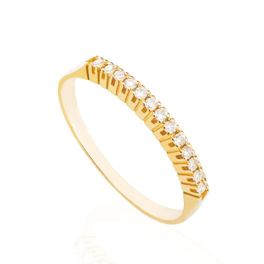 382dd4149530e Anel em Ouro 18k Meia Aliança com Diamantes 1 ponto an34676 - joiasgold