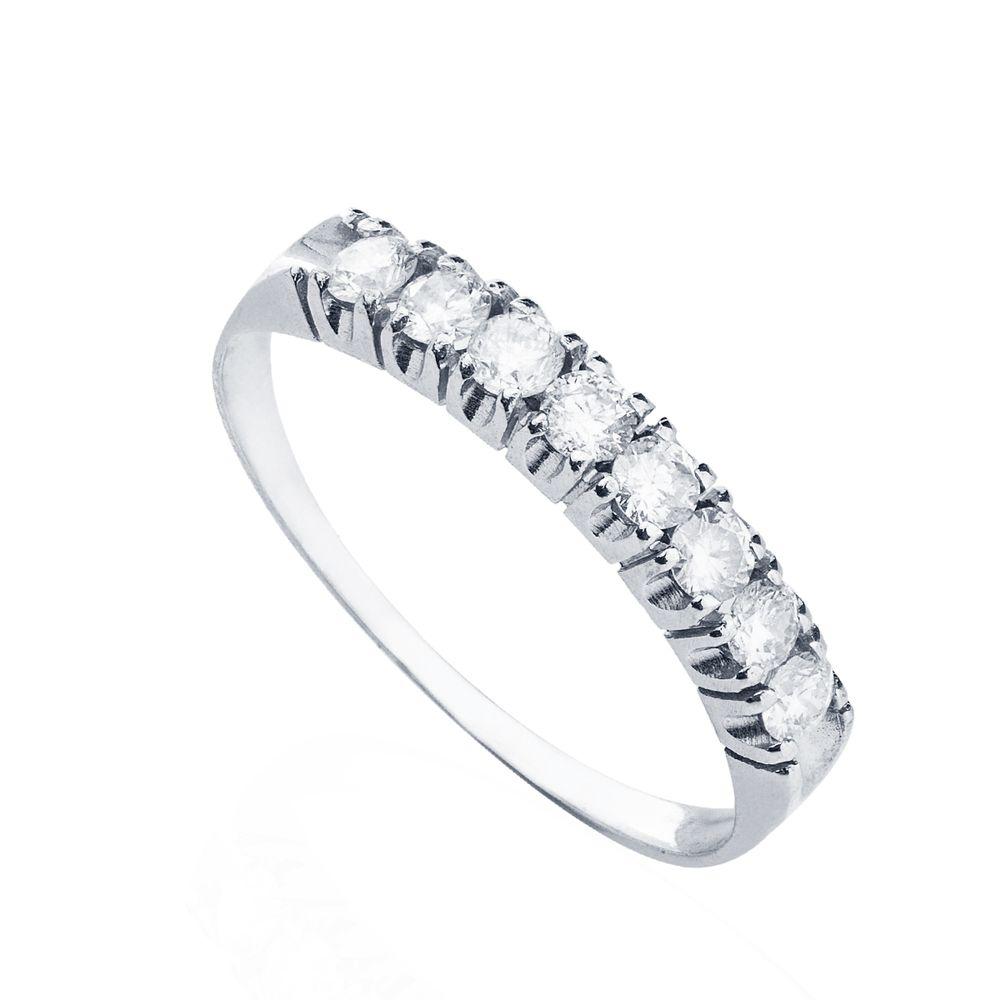 5991ed0005693 Anel em Ouro Branco 18k Meia Aliança 8 Diamantes 5 pontos cada ...