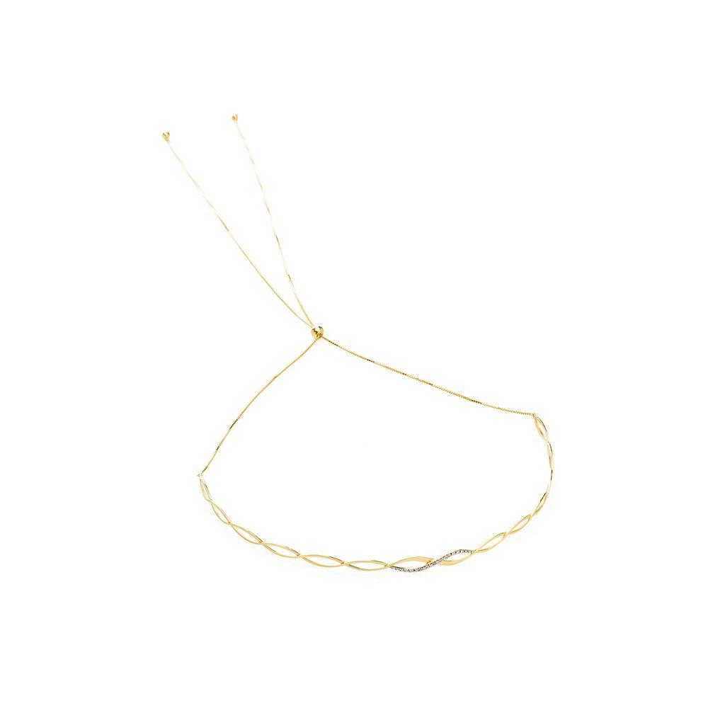 Gargantilha em Ouro 18k Chocker Regulável Onda Vazada com Diamante ... 7091bf7e3b