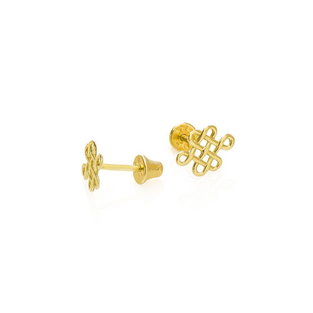 Brinco em Ouro 18k Nó Tibetano br22627 - Joiasgold