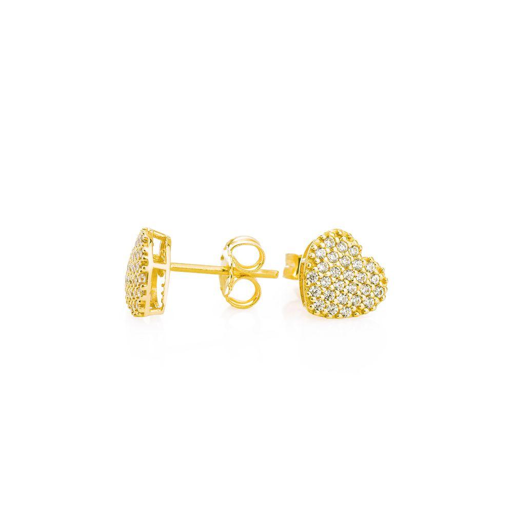 Brinco em Ouro 18k Chuveiro Coração com Zircônia br22361 - joiasgold d105b85ca6