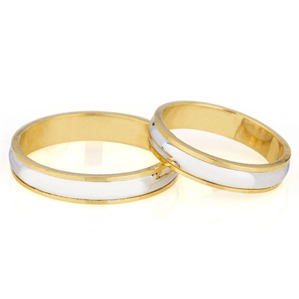 Par de Aliança Casamento Ouro 18k com Filete de Ouro Branco abpl41 ... a27c3b71e4