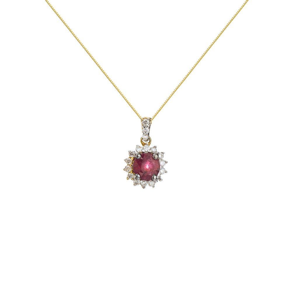 81f5192ad4373 Gargantilha em Ouro 18k Rubi com 15 Diamantes ga02271 - joiasgold