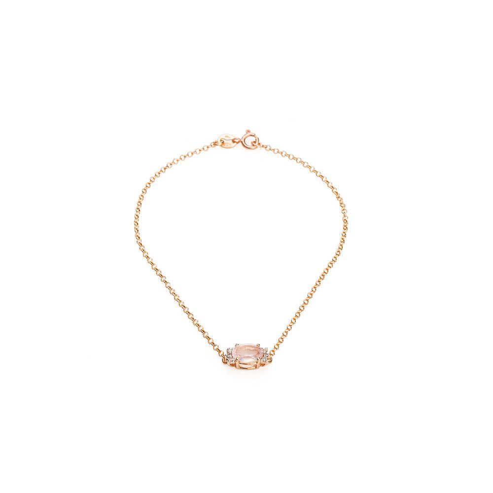 Pulseira em Ouro Rosê 18k Quartzo Rosa com Diamantes pu04190 - joiasgold a09d56dfbd